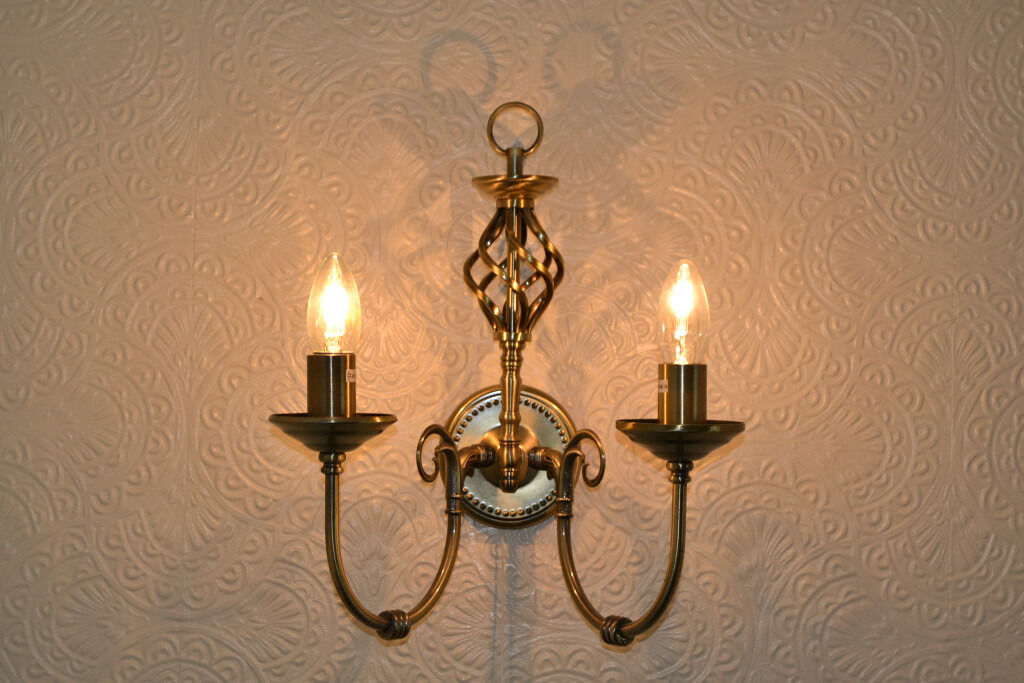 Pair of Madagascar Wall Lights Antique Brass bought from homebase ...