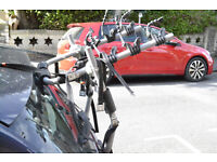 Car cycle carrier, fits estates or hatchbacks, holds three bikes.