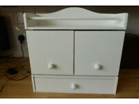 White Wall Cabinet with Integral Shelf, Mirror and Drawer