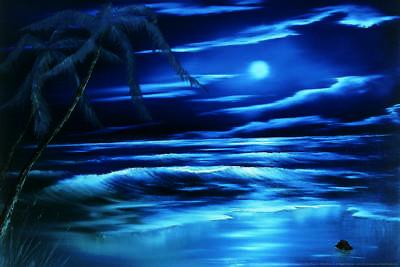 Bob Ross Blue Moon Art Print Painting Poster 24x36 inch