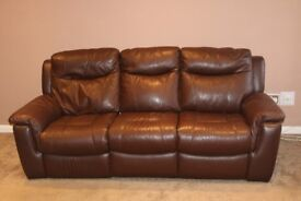 REDUCED REAL Leather 3 Seater Sofa + REAL Leather Moon Chair + REAL Leather foot stool Burgendy