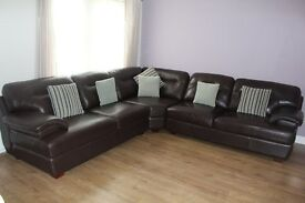 Beautiful Leather Corner Group Sofa. Excellent Condition - from a pet free & smoke free home