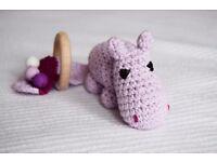 CROCHEWY HIPPO - Handmade crochet teething toy