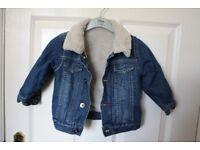 baby bundle age 9 - 12 months jumper, denim jacket, blue stripy onsie, pink shirt