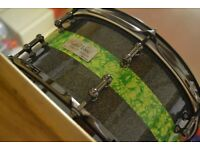 Hand crafted 1 of 1 custom made Highwood 20 ply snare 13x5 + Hardcase