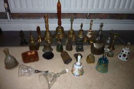 Job lot of 37 vintage brass/iron/glass bells