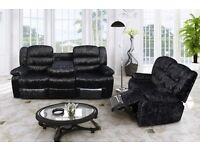 Fabulous crushed velvet 3 and 2 seater sofas recliners. 3 and 2. silver or black. BRAND NEW
