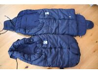 2 cosy weatherproof and fleece lined footmuffs for twin buggy