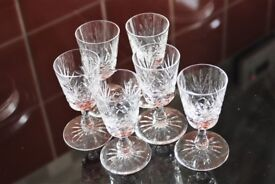 6 Edinburgh Crystal Liqueur Glasses