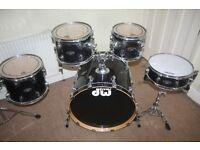 PDP Pacific (DW) FX Series Sapphire Black 5 Piece Drum Kit - DRUMS ONLY