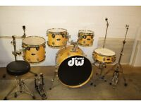 PDP Pacific (DW) LX Series Natural Lacquered 5 Piece Full Drum Kit (22in Bass) + Stands & Cymbals