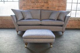 Duresta Ruskin 3str (225cm wide) + footstool Covered in £115 per metre designer fabric - Brand New
