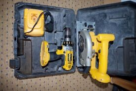 Dewalt 18v drill and dewalt 18v circular saw . Used condition but good and working