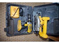 Dewalt 18v drill and dewalt 18v circular saw . Used condition but good and working