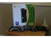 Xbox 360, 250 GB Matte Black Console boxed with 4 controllers and 37 great games