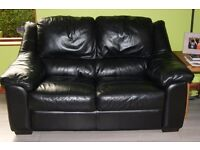 Black 3 and 2 Seater Leather Sofas