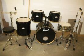 Pearl Vision VX Black 5 Piece Full Drum Kit (22in Bass) + All Stands + Cymbal set + Stool