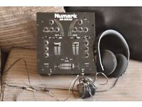 numark 2 chanell mixer with head phone/power adapter