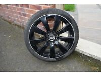 "4 x 17"" black alloy wheels with good tyres 205/40R17 3 tyres are good and one is brand new"