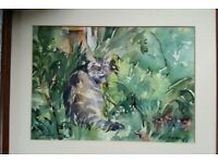 Limited 2 1 Genuine Old Watercolour of a tabby cat called Snorkey, Painted in 1992. Not oil, Acryic