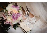 Beautiful lace bridal sandal heels - size 8