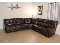 Ex Display Max Burgundy Leather Electric Recliner Corner Sofa
