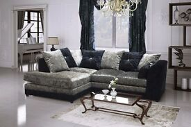 -14-DAYS--MONEY BACK-GUARANTY- ORIGNAL ITALIN STYLE CRUSH VELVET SOFAS + ALL CUSHIONS+SAME DAY DROP