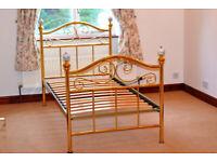 Single 3' Brass effect slatted base bed frame.
