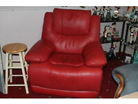 Red Leather Type Armchair