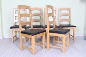 DELIVERY OPTIONS - SET OF 6 SOLID DINING CHAIRS VERY STURDY ALL JOINTS SECURE