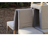 IKEA dining chairs with grey cover