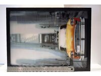 3D New York Taxi in wooden frame in front of times square.Ideal for Bedroom