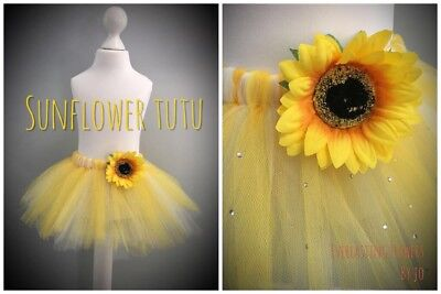 Sunflower tutu tulle skirt yellow white dress up cake smash photos - Sunflower Dress Up