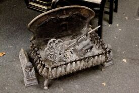 Antique Victorian fire grate and accessories