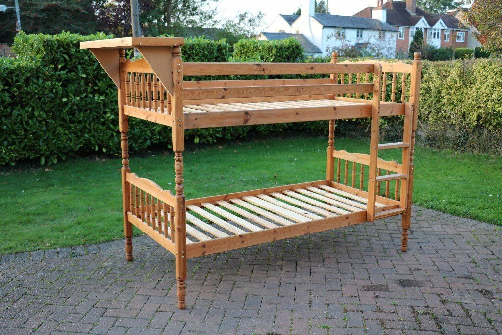 Quality Wooden BUNK BEDS + shelf. Attractive design. 2 singles or bunk bed. 1 mattress if wanted