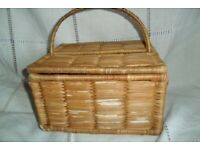 A great small woven basket 24 cm by 29 cm , 30 cm high with handle