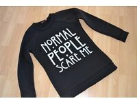 AMERICAN HORROR STORY 'NORMAL PEOPLE SCARE ME' WOMEN'S SWEATSHIRT SIZE 8/10/SMALL