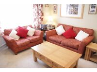 3 seater and 2 seater Settee/Sofa set, Soft, MFI Red/Orange