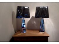 TABLE LAMPS PAIR OF ART DECO STYLE BLACK/MIRRORED BASES