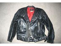 60s Style Black Leather Jacket Size 40