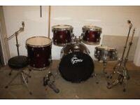 Gretsch BlackHawk Wine Red 5 Piece Full Drum Kit (22 in Bass) Hardware Sabian Cymbal Set - £425 ono
