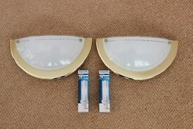 Wall Lights Brass Finish Deco Half Flush Style (pair) complete with Bulbs