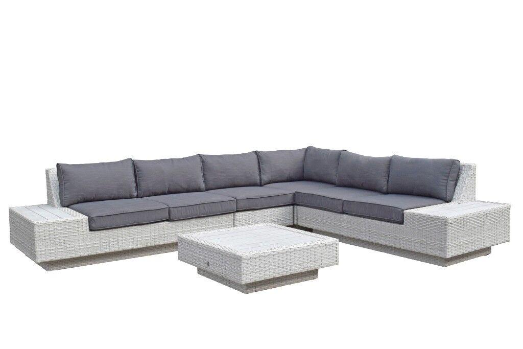 Homeflair Rattan Garden Furniture Mauritius Soft White Colour Corner Sofa 1349