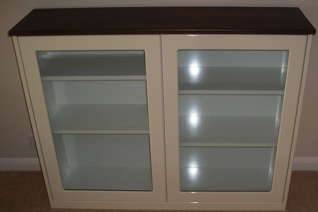 Bookcase Off White Gloss Walnut 2 Gl Doors Vgc In Bourne End Buckinghamshire Gumtree