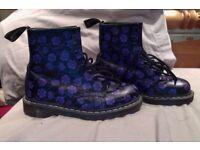 Dr Marten Boots- black with purple flowers - size 6 -
