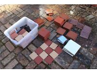 A number of various quarry and other floor tiles for sale