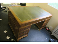 Leather topped light wooden desk, 5 foot x 3 foot with chair and letter trays thrown in foc!