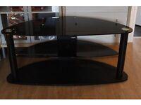 Modern Black Glass TV Stand Unit