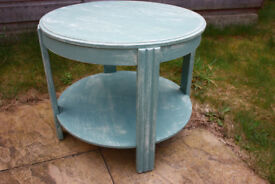 Vintage solid oak shabby chic side / end table