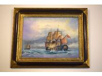 Oil on board,ship painting,home decor,wall art,wall decor,bedroom decor,gift,boat painting,nelson,